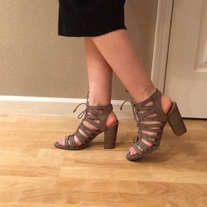 New beautiful Taupe gladiator lace up heels